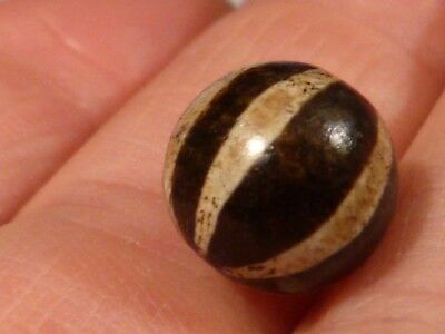 Ancient Pumtek Pyu 6 Stripe Round Bead 12 Mm  Deep Patina High Contrast 12 Mm