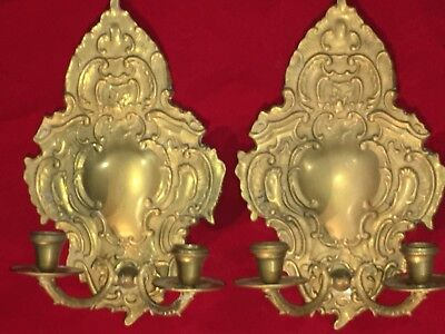 Pair of 19th Century Antique European Import Brass Candle Wall Sconces