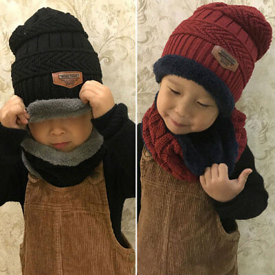 Fashion Girls Boys Baby Cap Kids Winter Warm Set Soft Knitted Hat and Scarf Set