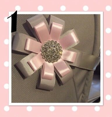 Pram Accessory Hood Baby Shower Corsage Rosette Magnet Diamanté