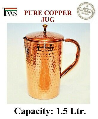 Pure Copper Water Jug 1.5 Litre Hammered Energized Pitcher Ayurvedic effective