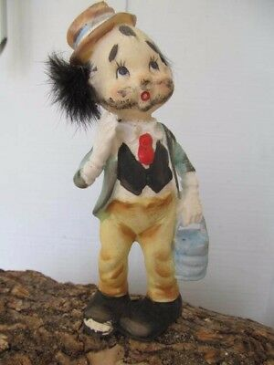 Vintage Tilso Japan Clown Hobo Figurine Hand-painted with Rabbit Hair Sideburns