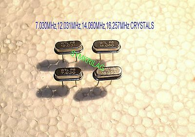 7.030MHz,12.031MHz,14.060MHz,16.257MHz CRYSTAL UNITS FOR HF COMM.,4 PIECE OFFER!