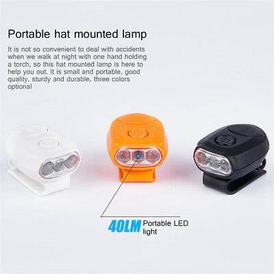 Clip On 3 LED Head Lamp Cap Hat Light Torch Fishing Hunting Camping Running