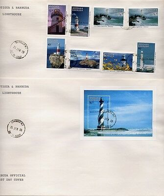 Barbuda 1999 Leuchttürme Lighthouses FDC First Day Covers