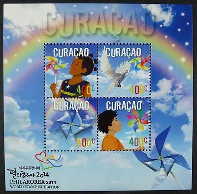 Curacao 2014 Philakorea Kinder Windräder Taube Dove Kids Philatelie MNH
