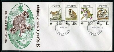 St. Kitts 1986 WWF Affen Monkeys Landes-FDC First Day Cover