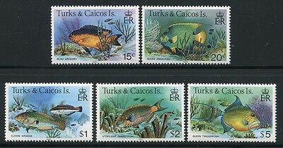 TURKS & CAICOS 1983 Fische Fishes Poissons Pesci 413-419 III (5) ** MNH