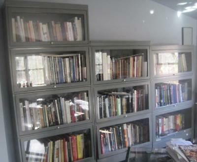 Ten Stacks Vintage Grey Metal Barrister Bookcases With Glass Fronts