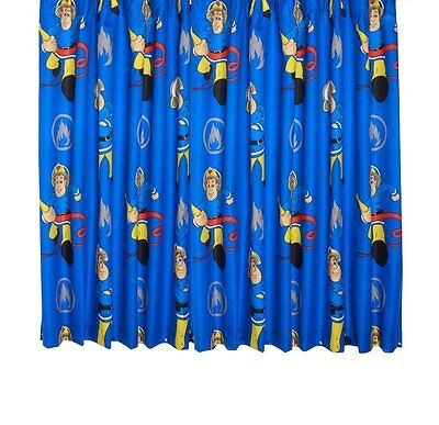 """Fireman Sam Rescue Window Pair of 66"""" x 54""""  Curtains Childrens Bedroom Ideas"""