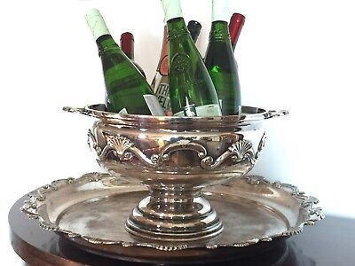 Vtg Silverplate Punch Bowl & Tray Shell Scroll Wine Cooler Chiller Centerpiece