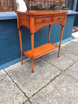 Yew Wood Side   End Table With 2 Drawers (Bradley Furniture) #1626