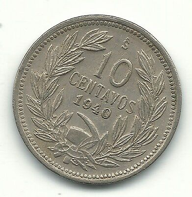 A Very Nicely Detailed High Grade Au 1940 S Chile 10 Centavos Coin-Jul210