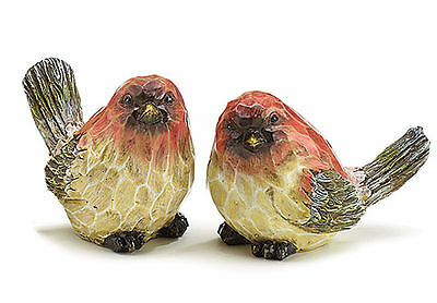 New Pair Red Birds Figurines Sculpted Faux Wood burton+BURTON IN STOCK!