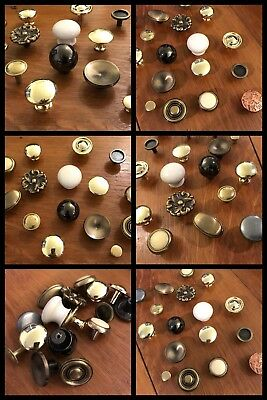 17 Knobs Pulls Assorted Cabinet Drawer Arts Crafts Hobby Wood Working VINTAGE