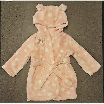 Baby Girls George Pink Dressing Gown Robe White Hearts Hood Hooded 6-9 Months