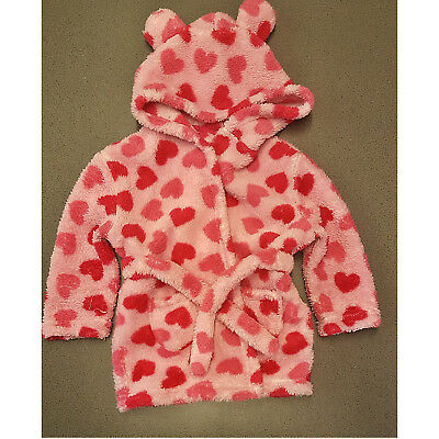 Baby Girls Primark Pink Dressing Gown Robe Pink Hearts Hood Hooded 12-18 Months