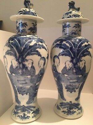 Wonderful pair of matching blue and white, antique Chinese, hand painted vases