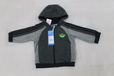 Kid's/ Infants Adidas Originals Fleece Tracksuit Top Grey/Black