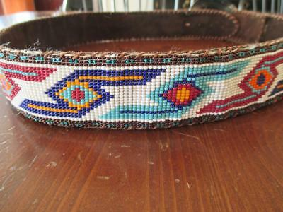 Vintage~Seed Beaded Leather Suede Belt~Native American Hand Crafted~Retro 70's