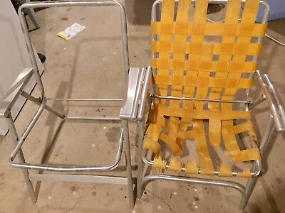 VINTAGE FOLDING ALUMINUM Lawn Chairs Lot of 2 with webbing ...