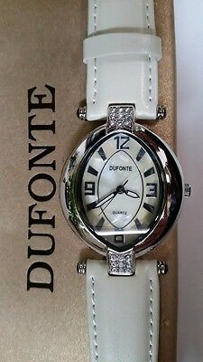 Mother of Pearl New Lady's Crystal Watch by Dufonte with White Leather Band