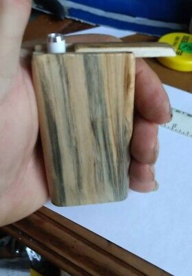 "Handmade Tiger maple dugout with3"" metal cigarette pipe forTobacco free shipping"