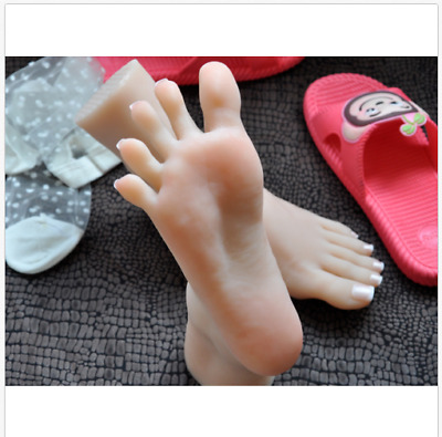 Lifelike top quality silicone girl feet mannequin arbitrarily bent/posed/soft F5