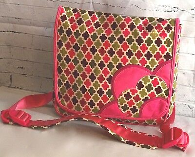 "VERA BRADLEY Frill ""Hello Dahlia"" Large Laptop Brief Case Book bag Vinyl Canvas"