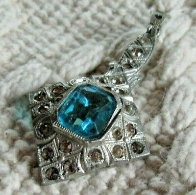 VINTAGE ART DECO Rhinestone Pot Metal Powder Blue Square Stone Pendant Necklace
