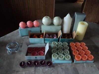 Partylite Mixed Lot Of 64 Candles Votives- Tealights- Pillars - Ball Free Ship