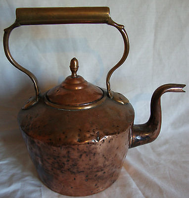 Large Size Late Georgian c1820 Copper & Brass Fireside Kettle. Rustic Condition