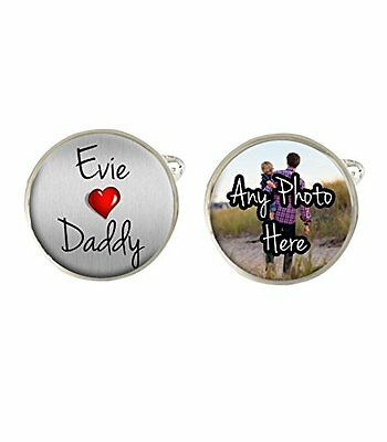 Personalised Photo & Childs Name Daddy Mens Cufflinks Birthday Fathers Day c337