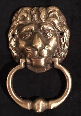 Vintage Heavy Solid Brass Lion's Head Door Knocker