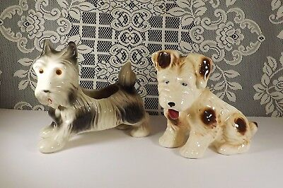 Adorable Large Vintage Pair of Dog Planters- Illinois Pottery Co & Old Japan