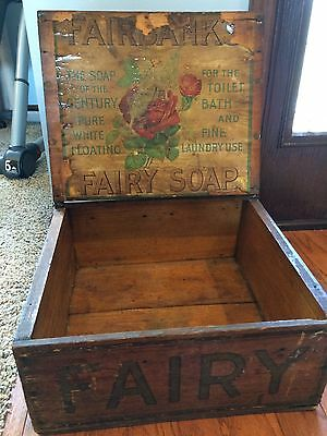 Incredible Fairbank's Pure White Floating Fairy Soap Wood Advertising Box w Lid