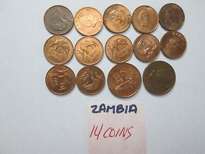 ZAMBIA, 14 Coins,1 & 5 Ngwee coins, dates vary, Circulated condition