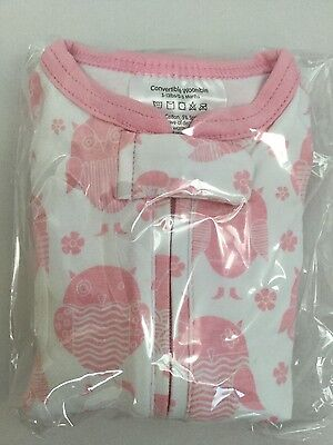 WOOMBIE Convertible Newborn BABY SWADDLE Pink Owls 0-3 mth 5-13 lbs Sleep Sack
