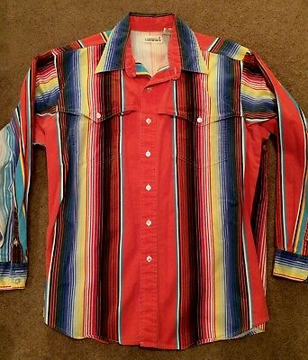 Vintage BACCA Cowboy's Only Western Shirt Men's Large Multi Color Stripes USA
