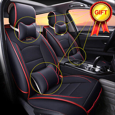 5-Seats Auto Car Seat Cover Deluxe PU Leather Cushion Pad Front + Rear w/Pillows