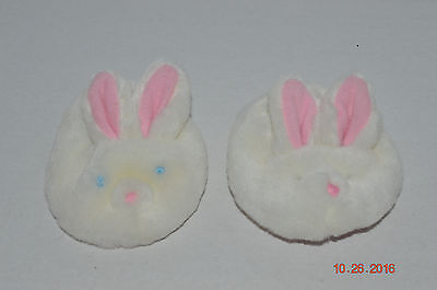 Build A Bear~Fluffy White Bunny Slippers~Embroidered Blue Eyes & Pink Nose~J1