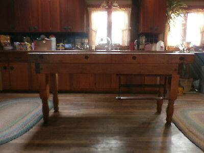 Antique Maple Butchers Table, 6 feet+, with wrapping paper dispenser. Early 1900