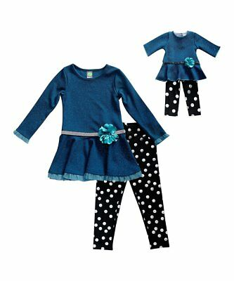 """Girl 4-10 and 18"""" Doll Matching Teal Tunic Black  Legging Outfit American Girl"""