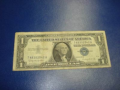 1957 B - USA $1 bill - one dollar Silver Certificate - circulated - T68352542A