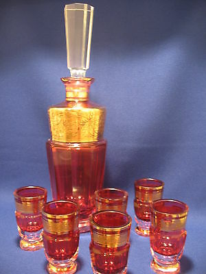 Magnificent Signed Moser Cranberry Cordial & Decanter Set - Absolutely Stunning!