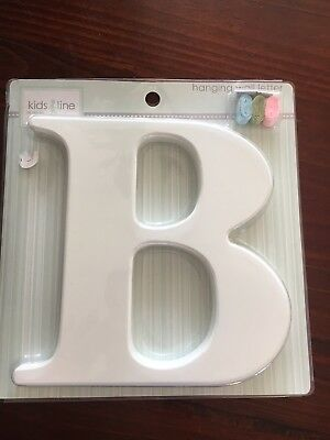 New Timber White Wooden Hanging Wall Letter B with ribbon