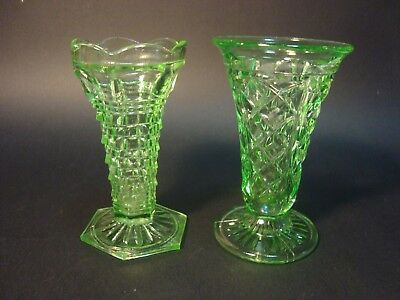 Two Art Deco Green Depression Glass Vases