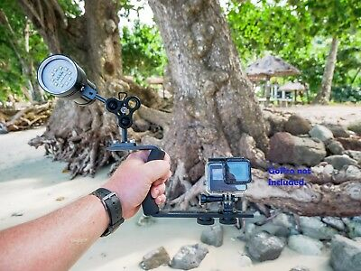 Pro underwater video light and single handle tray for GoPro, SJCAM, Olympus TG5