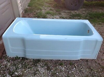 Antique Bathroom Toilet Bathtub Sink Set Blue 1950's Universal Rundle Cast Iron