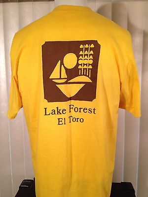 Vintage 80s Boy Scouts Yellow T-Shirt Large Lake Forest El Toro Pocket 2 Sided